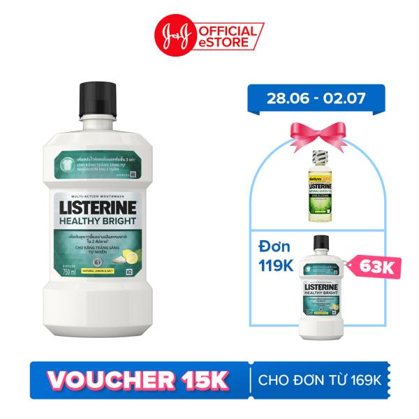 Nước súc miệng giúp răng trắng sáng tự nhiên Listerine Healthy Bright 750ml - 100945468 giá rẻ