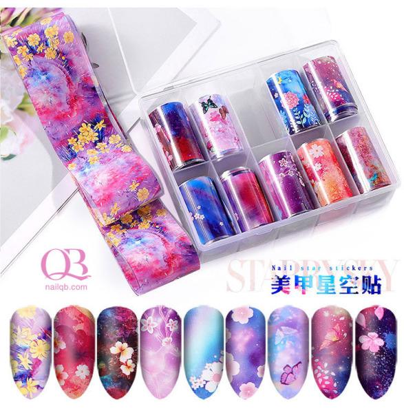 Foil trang trí móng (foil dán móng) hộp 10 cuộn họa tiết hoa Nhật Bản mã YH giá rẻ