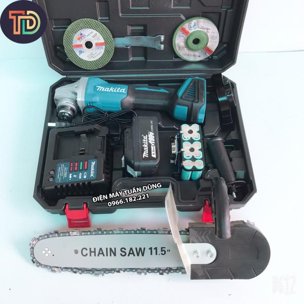 Máy cắt cầm tay dùng pin Makita 199V 6Ah 2 pin 20000mAh, 3 tốc độ, không chổi than, tặng lưỡi cưa gỗ, 1 đá mài, 1 đá cắt