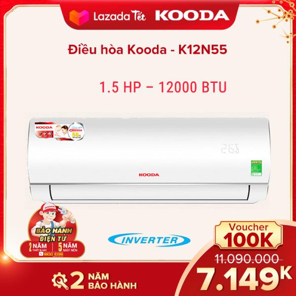Điều hòa Kooda 1.5 HP – 12000 BTU - K12N55 ( Trắng ) INVERTER - Hàng chính hãng