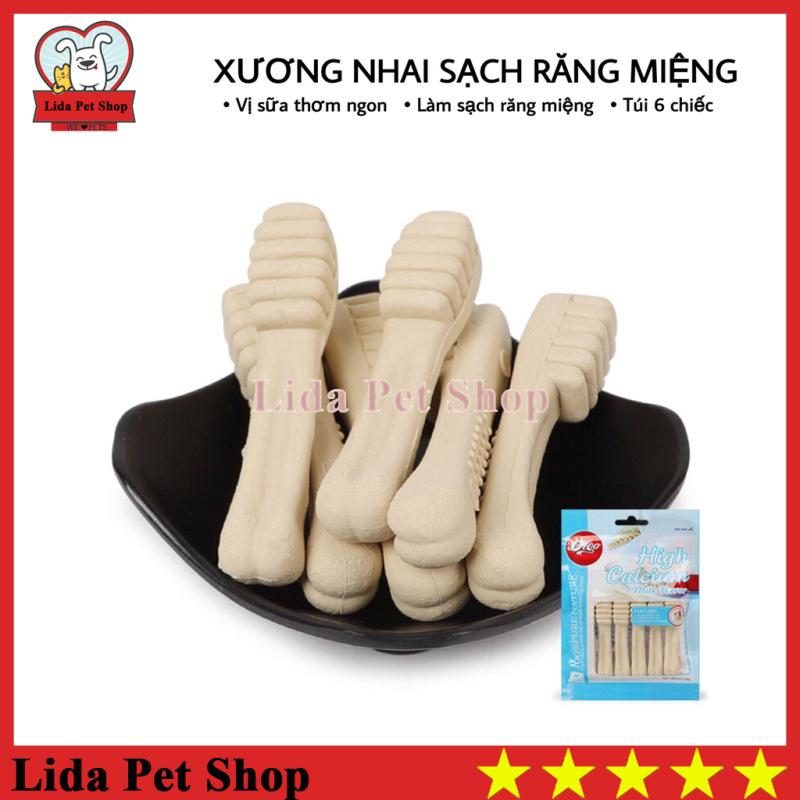 [Lấy mã giảm thêm 30%]HN- Xương nhai bổ sung dinh dương giúp sạch răng miệng hương vị sữa - Túi 6 chiếc - Lida Pet Shop