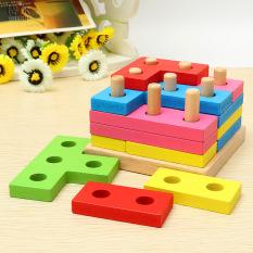Hình ảnh Đồ chơi phát triển tư duy trụ cột bằng gỗ Tetris