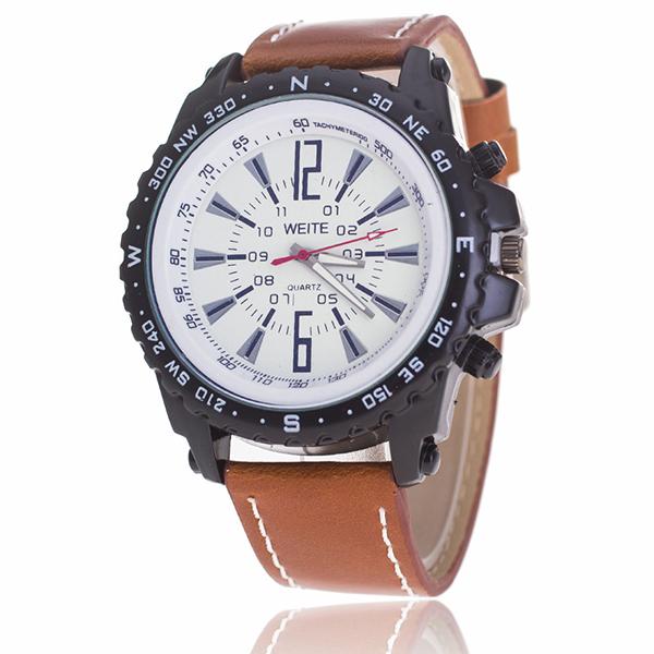 Đồng hồ đeo tay nam dây giả da Witt UX047_BR6135 (Nâu)