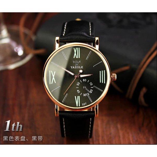 Đồng hồ nam dây da tổng hợp Yazole YA001-1 (Đen)