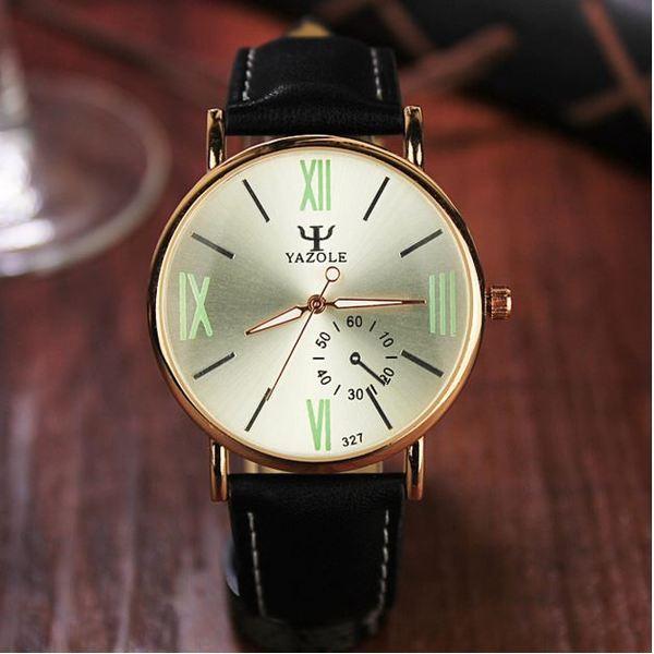 Đồng hồ nam dây da tổng hợp Yazole YA001-3 (Đen mặt ngà)