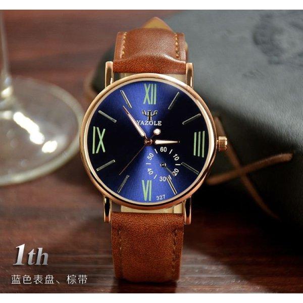 Đồng hồ nam dây da tổng hợp Yazole YA001-4 (Nâu mặt xanh)