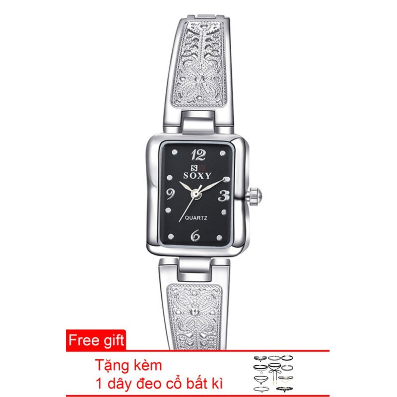 Đồng hồ nữ dây hợp kim Soxy SY001-3 (Bạc mặt đen) + Tặng 1 dây đeo cổ bất kì