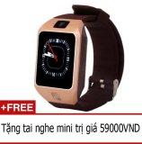 Mã Khuyến Mại Đồng Hồ Thong Minh Smartwatch Dz09S Vang Đồng Tặng 1 Tai Nghe Mini Oem