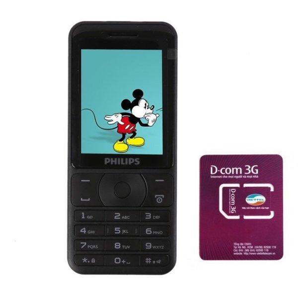 ĐTDĐ Philips E180 2 SIM (Đen) + 1 SIM Dcom 3G Viettel