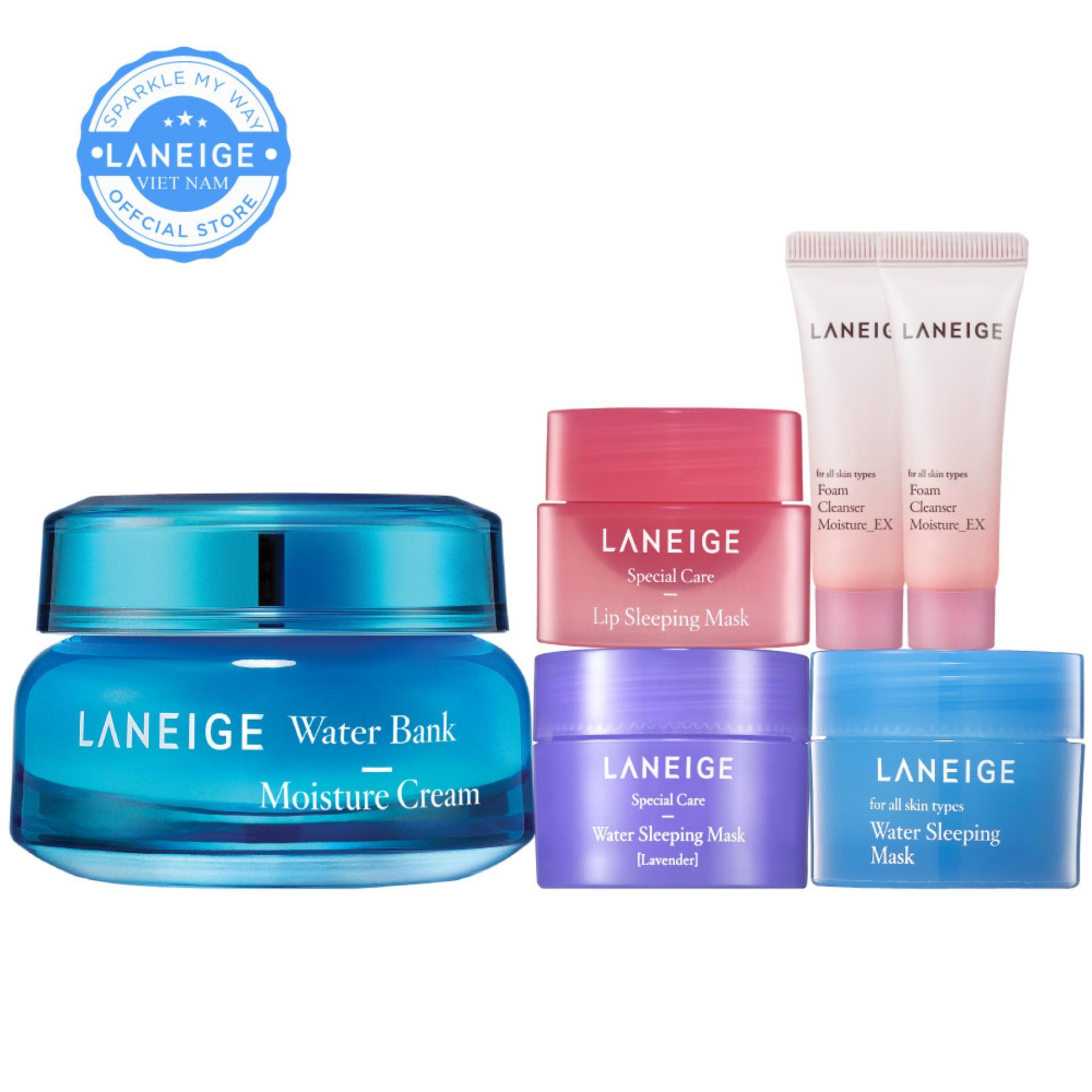 Kem dưỡng ẩm Laneige Water Bank Moisture Cream 50ml + Tặng Bộ Quà Sleeping Care Good Night Kit