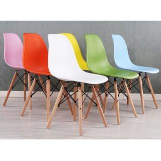 Ghế eames nhựa chân gỗ nhập khẩu - ghế cafe - ghế phòng khách ( màu trắng) thumbnail
