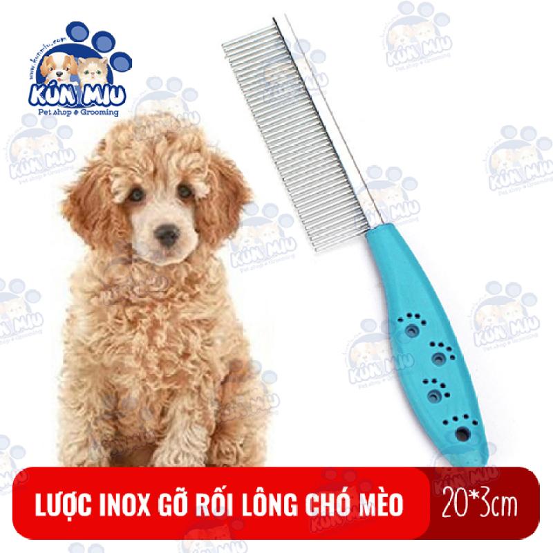 Lược chải lông inox cán nhựa họa tiết bàn chân Kún Miu tác dụng gỡ rối lông cho chó mèo