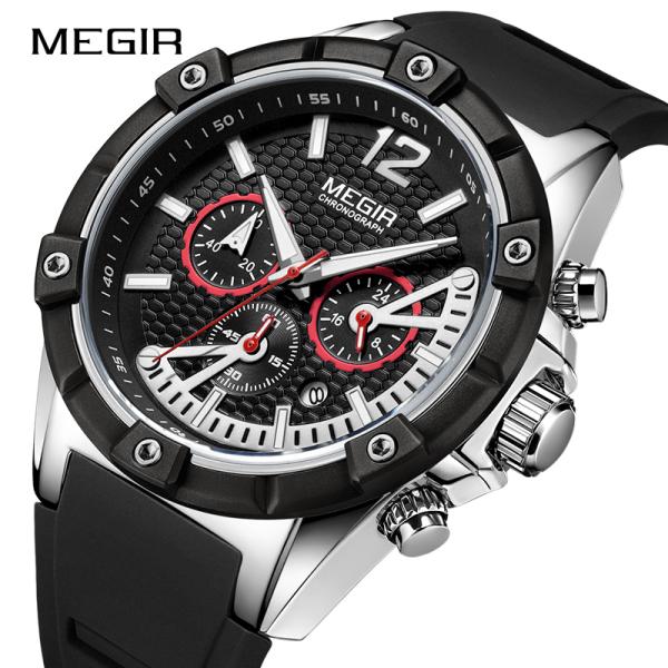 Thời trang mới MEGIR Chronograph thể thao nam silicon chống thấm nước Đồng hồ thạch anh dây đồng hồ nam quân sự quân sự Đồng hồ Đồng Hồ Relogio Masculino. Nam Tặng