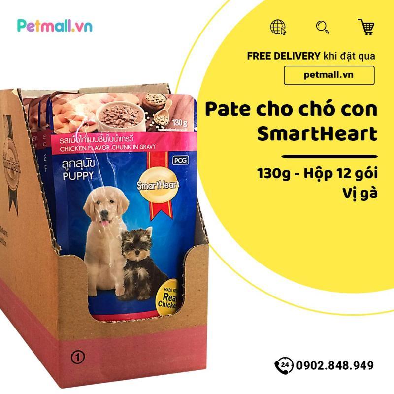 Pate SmartHeart Puppy 130g - Hộp 12 gói - Chicken