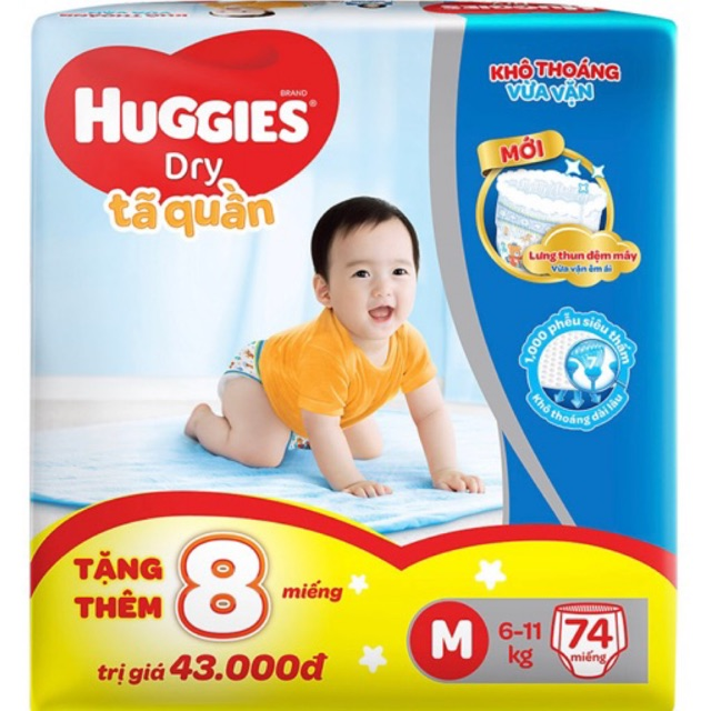 Tã quần Huggies Pant Super Jumbo M74/L68/XL62/XXL56 + tặng 8 miếng