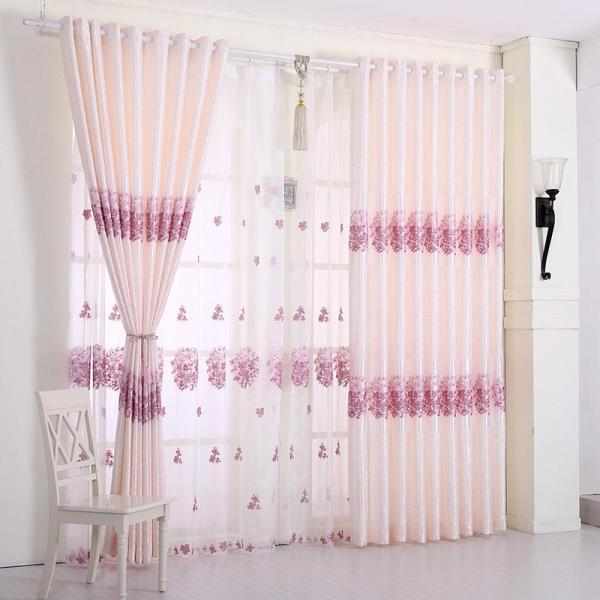 Rèm vải dày che nắng tốt cách nhiệt hoa tú cầu hồng 2m x 2.7m cao