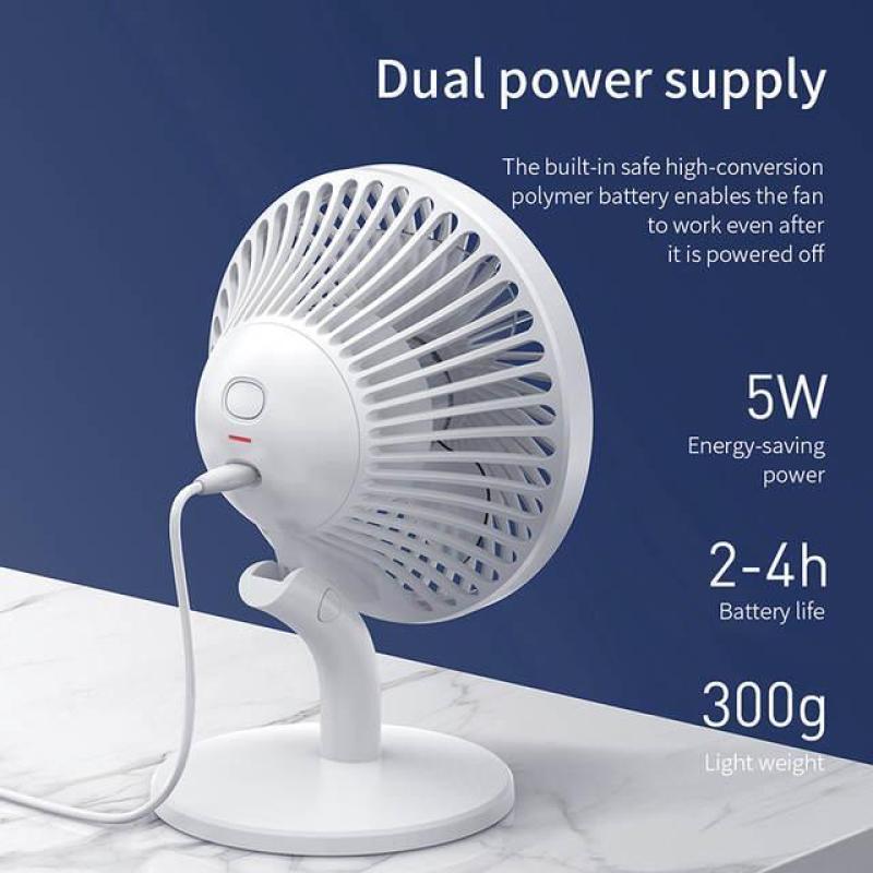Quạt Sạc Tích Điện Mini Cầm Tay Hoặc Để Bàn xoay tiện dụng Đa Năng bền pin 2000 mAh ( Hoạt động 4h - 8h liên tục ) thương hiệu Baseus