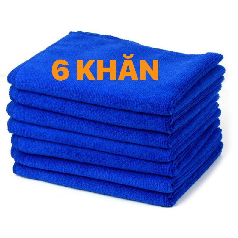 Set 6 Khăn lau xanh dương microfiber 30x30cm cho ô tô, xe hơi, xe máy 6B7849 - Màu xanh