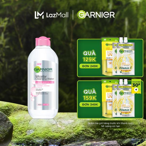 [Đơn 349K tặng túi + 3 quà] Nước làm sạch và tẩy trang cho da nhạy cảm Garnier Micellar Water 400ml nhập khẩu