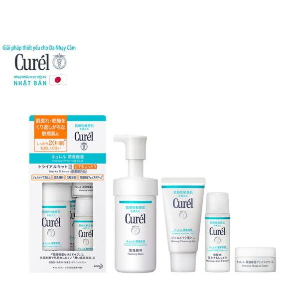 Bộ Chăm Sóc Da Cấp Ẩm Chuyên Sâu III Curel Intensive Moisture Care III Enrich Trial Kit (Foaming Wash 90ml + Intensive Moisture Cream 10g, Makeup Cleansing Gel 30g + Moisture Lotion III Enrich 30ml)