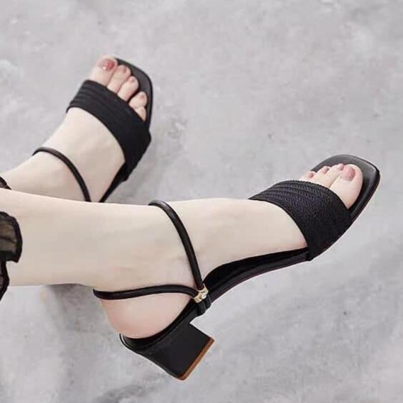 ( Bảo hành 12 tháng ) Sandal gót vuông quai cách điệu mang 2 kiểu - Giày cao gót 5 phân - 3 màu vàng - kem - đen - Linus LN1807 giá rẻ