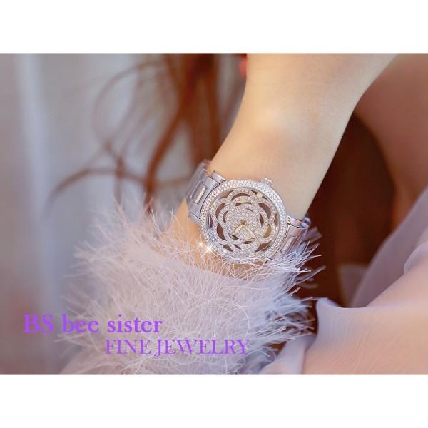 Đồng hồ nữ Bee sister Fa0906  mặt hoa hồng cá tính - BS47- màu trắng