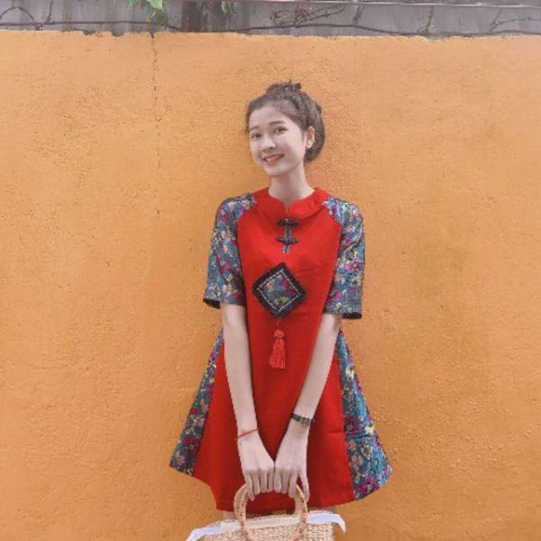 Áo dài cách tân phong cách, đầm đỏ sườn xám phối gấm hoa cao cấp