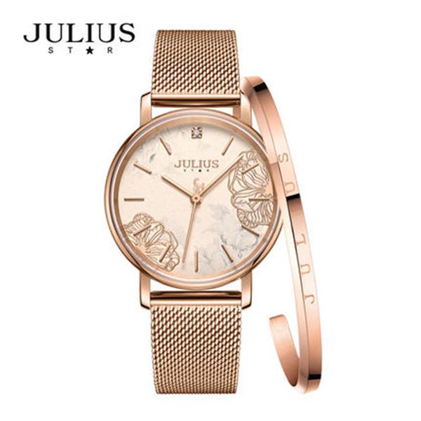 Đồng hồ nữ Julius Star Hàn Quốc JS-033 mặt kính sapphire in hoa 3D