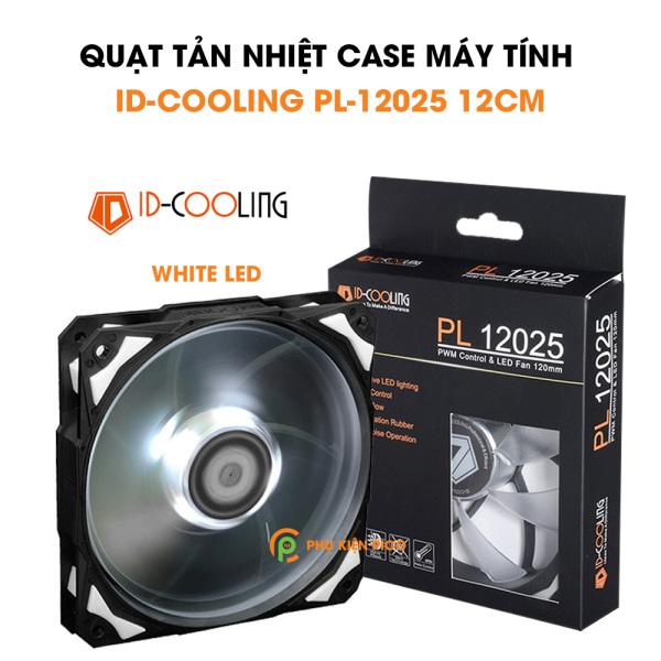 Quạt tản nhiệt case máy tính chính hãng ID-COOLING PL-12025 Quạt Fan Case 12cm 11 cánh màu trắng