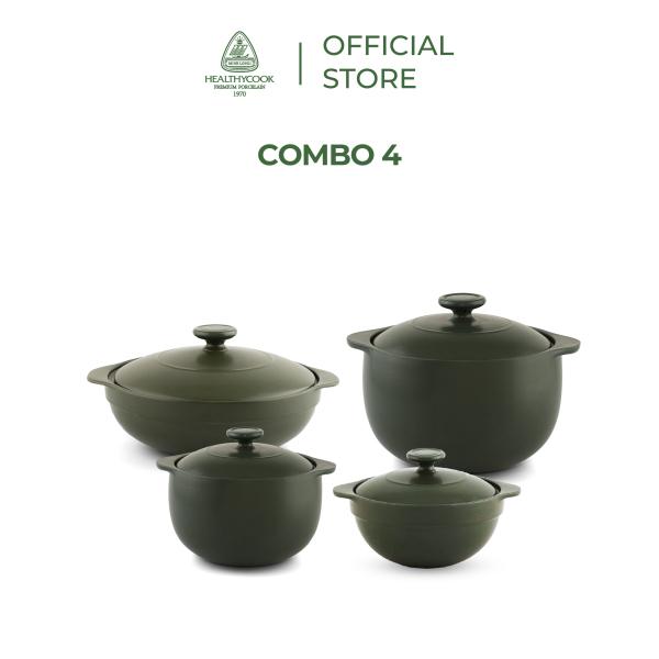 Bộ nồi sứ dưỡng sinh Minh Long 4 nồi nhiều kích thước thích hợp kho, om, nấu canh dùng được bếp gas, bếp hồng ngoại lò nướng  (0.35L/0.55L - 0.4L/0.85L)
