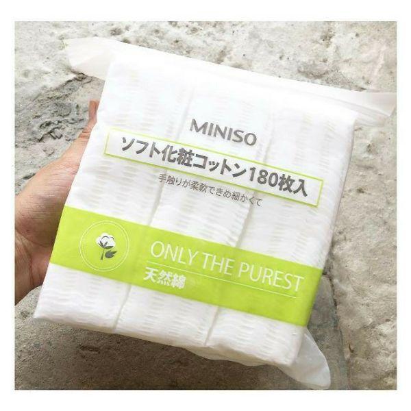 Bông tẩy trang Miniso Nhật Bản 180 miếng giá rẻ