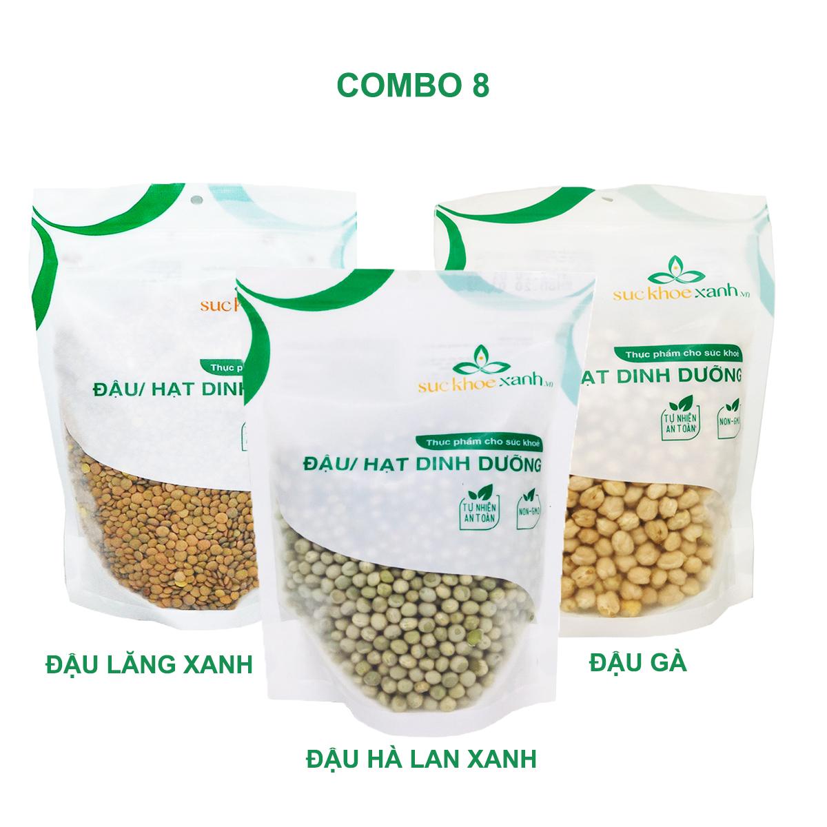 Combo 8 - Đậu gà & Đậu lăng xanh & Đậu hà lan xanh nguyên hạt (mỗi túi 500g)