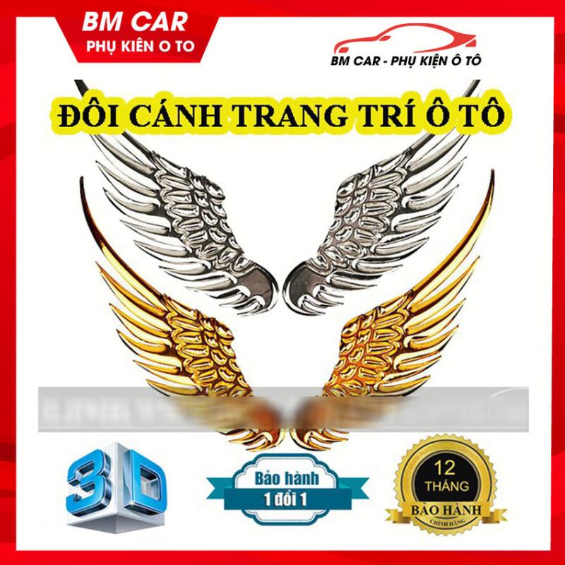 Đôi cánh thiên thần 3D dán trang trí Logo ô tô, xe hơi ĐẲNG CẤP, THỜI THƯỢNG