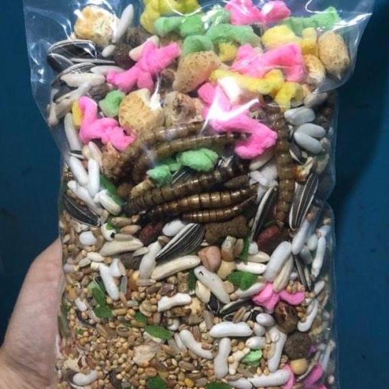 Thức ăn ngũ cốc cho hamster hamster chuột sóc bọ bịch 500gram có sâu khô  cung cấp đủ dinh dưỡng