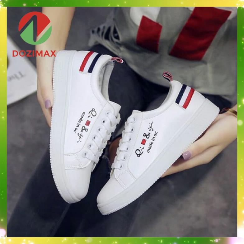 Giày sneaker nữ Hàn Quốc trắng Dozimax 3S0CD chất liệu da PU đế cao su phong cách thời trang khó bám bẩn giá rẻ