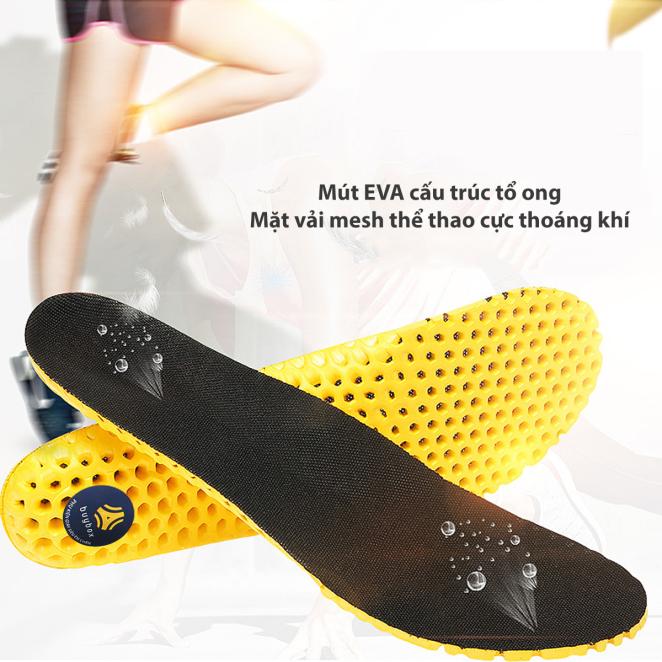 Lót giày thể thao tổ ong vải mesh màu đen loại gót dày cao cấp cực êm chân, thoáng khí - BSPK128 - buybox giá rẻ