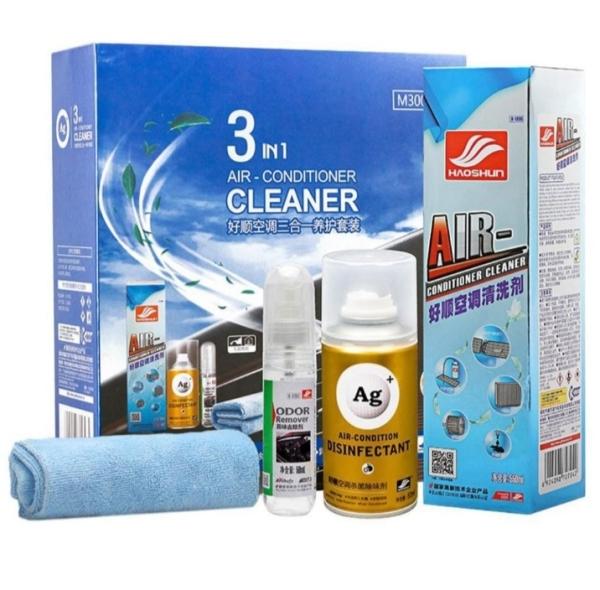 Vệ sinh điều hoà ô tô Bộ 3 chai vệ sinh điều hoà xe hơi ô tô Haoshun 3 in 1 Air Conditioner cleaner M3001