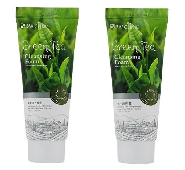 COMBO 2 Sữa Rửa Mặt Chiết Xuất Từ Trà Xanh 3W Clinic Green Tea Foam Cleansing 100ml