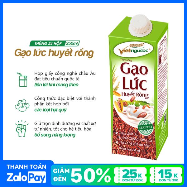 [Date 25.5.2021] Thùng 24 hộp thức uống Gạo lức huyết rồng Việt Ngũ Cốc - 250ml/hộp