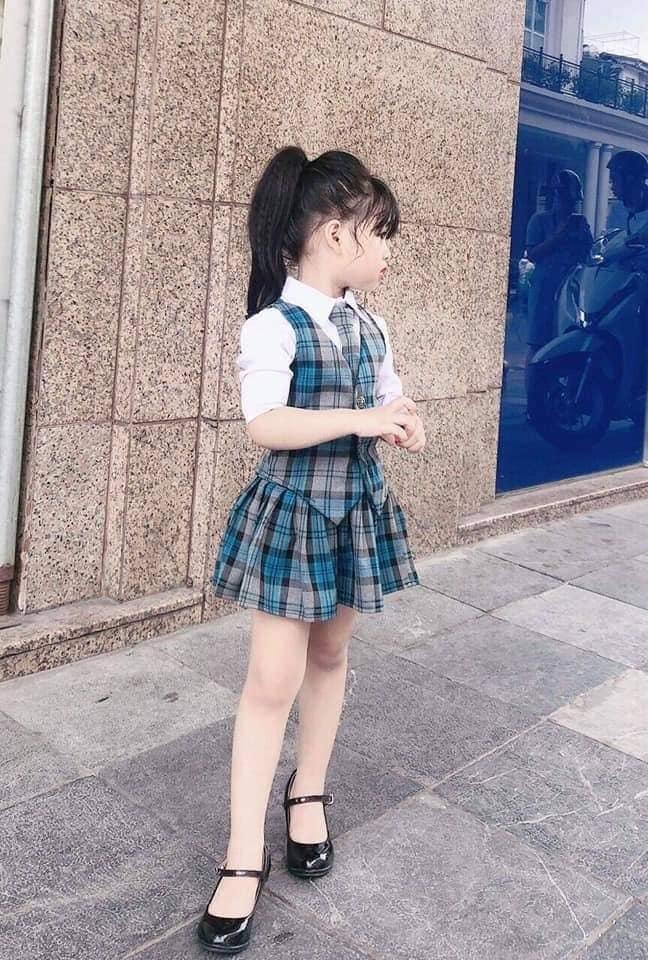 Giá bán [Kho buôn] ĐỒNG_PHỤC đi học set 3 chi tiết cho bé gái, bộ đồ bé gái, đầm bé gái, áo bé gái
