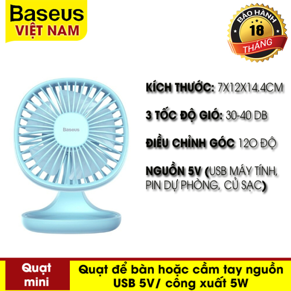 Quạt mini - Quạt cầm tay hoặc để bàn  Di Động 3 Tốc Độ gió thích hợp cho Văn Phòng của hãng Baseus  nguồn sử dụng USB Máy Tính pin dự phòng,  Ventilador