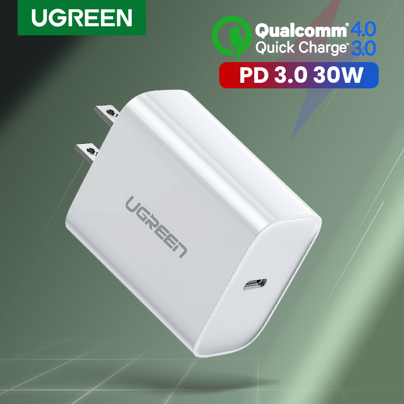 UGREEN 30W USB C PD Charger for iPhone 12, SAMSUNG S20+, iPad Pro 2020 Quick Charge Mobile Phone Charger for iPhone 11 Pro max, Huawei Fast QC 4.0 QC 3.0 9V2A Power Delivery Charger