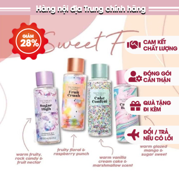 🌸𝐌𝐢𝐞̂̃𝐧 𝐏𝐡𝐢́ 𝐒𝐡𝐢𝐩🌸 Xịt thơm body Victorias Secret hương thơm lan toả bản siêu xinh bản siêu to 250 ml