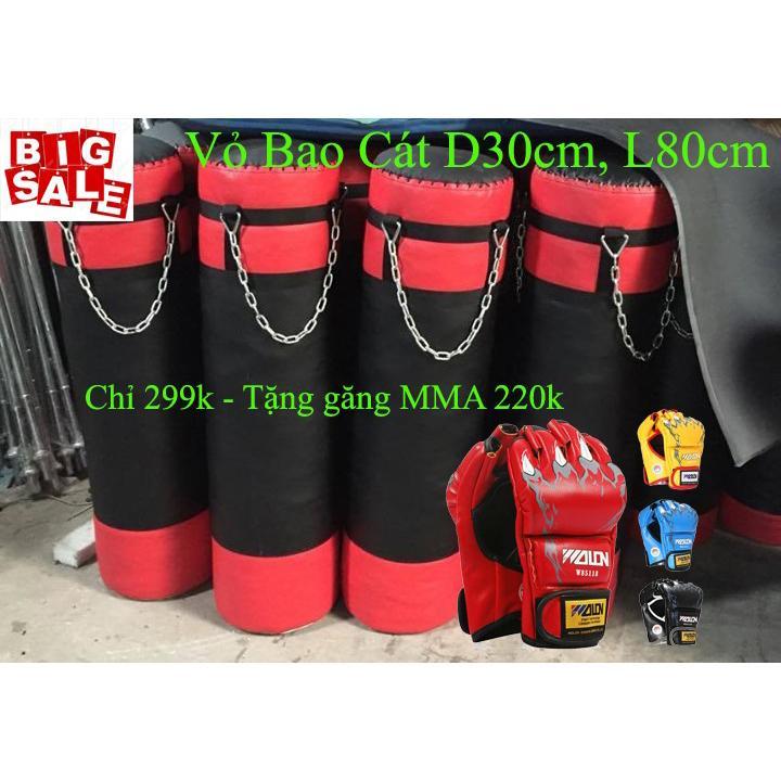 Combo 02 Vỏ Bao Cát 80 cm, D30 cm + Găng MMA Hở Ngón Walon Xịn 299K Nhật Bản