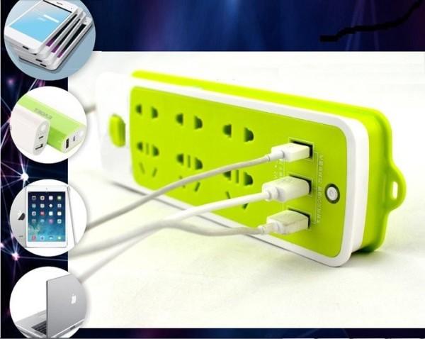 (LOẠI TỐT) Ổ CẮM ĐIỆN CHỐNG GIẬT CÓ LỖ CẮM USB - Ổ CẮM ĐIỆN XANH LÁ 6 LỖ SẠC 3 LỖ USB TIỆN LỢI - SẠC CỰC NHANH, AN TOÀN CHO MỌI THIẾT BỊ