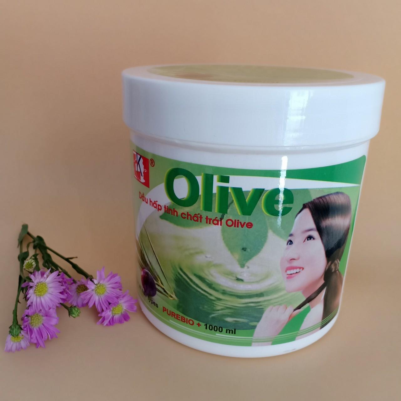 Dầu hấp tinh chất trái Olive 1000ml (Xanh - Trắng) giá rẻ