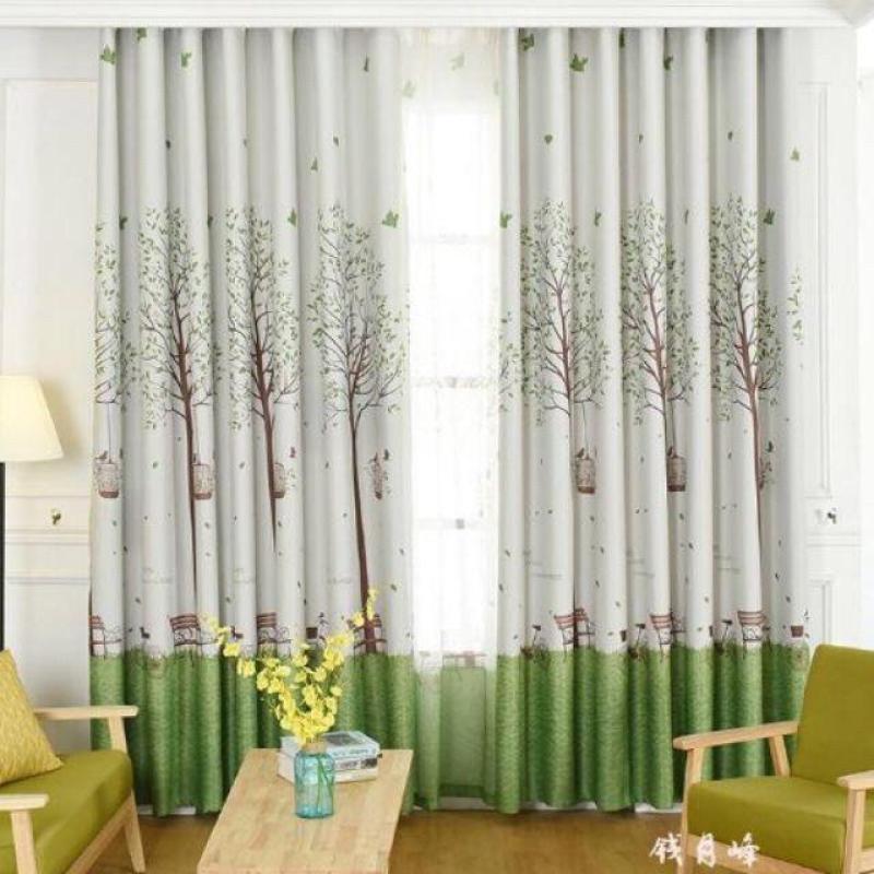Rèm vải trang trí (có sẵn khoen) - CÂY XANH VÀ LỒNG CHIM PR011 nhaxinhnhadep (Mới)