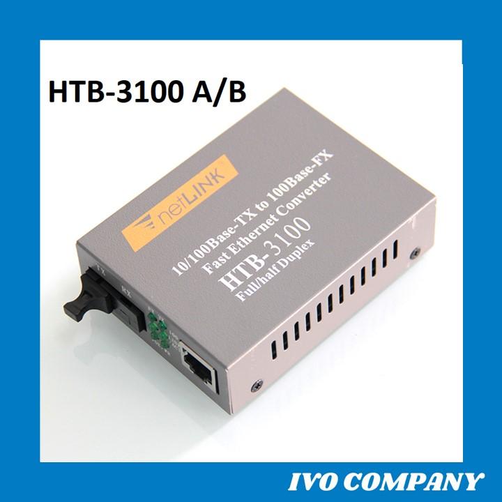 Thiết Bị Chuyển Đổi Quang Điện 1 Sợi Media Converter 1FO 1 Quang 1 LAN 100Mbps Netlink HTB-3100AB