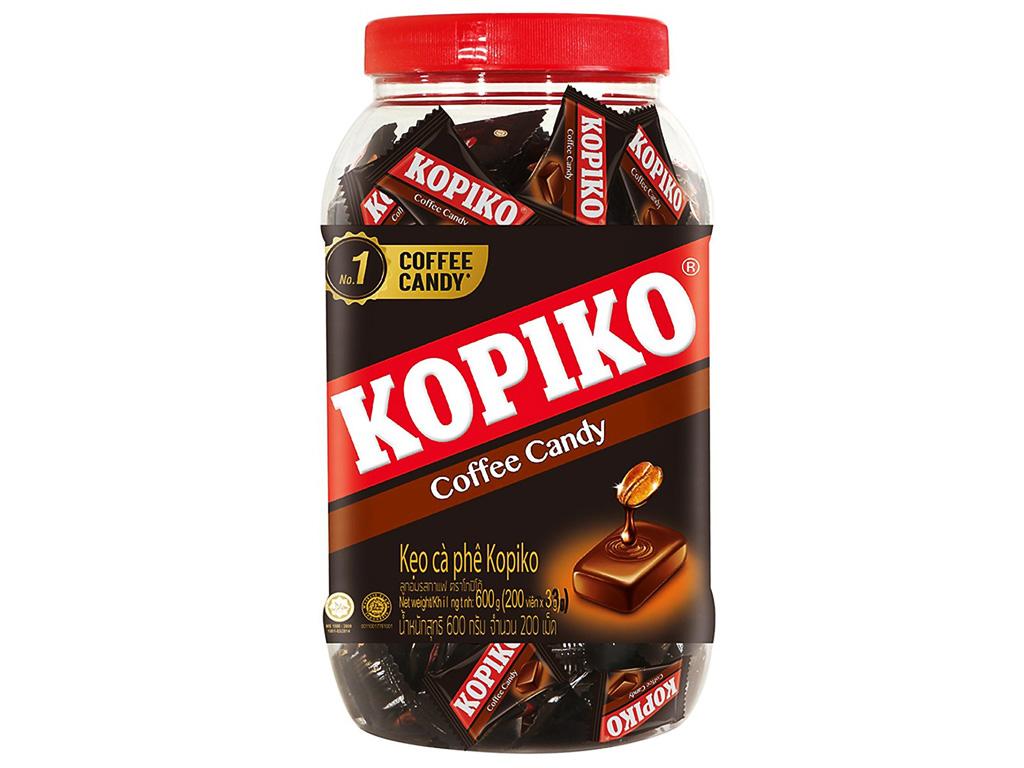 Kẹo cà phê KOPIKO coffee candy hũ 600g khoảng 190 viên