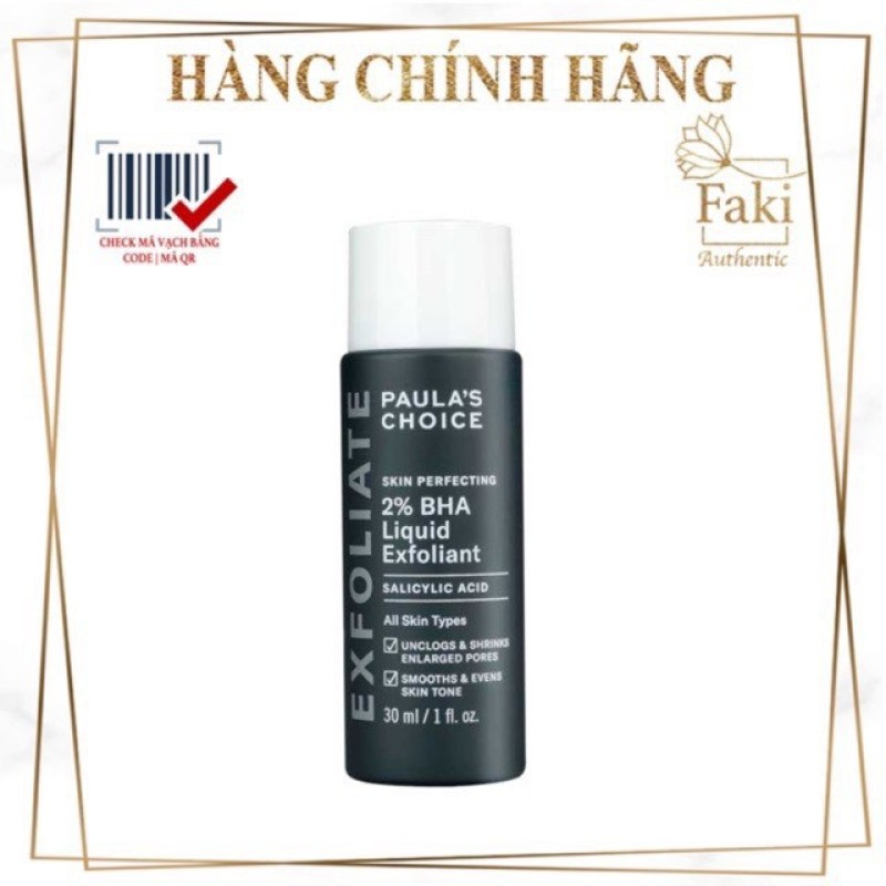 Tẩy Da Chết Hoá Học Paula'S Choice Skin Perfecting 2% Bha Liquid 30Ml | Da Mụn Viêm (Full Size 30Ml)